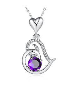 Purple Crystal Design Heart-Shaped Pendant Necklace