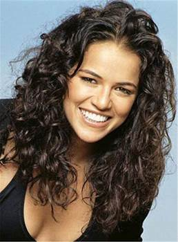 Michelle Rodriguez Messy Curly Medium Human Hair Lace Front Cap Wigs 16 Inches