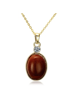 Ellipse Goldstone Pendant Short Necklace