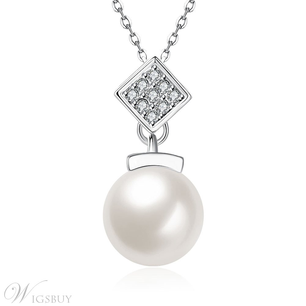 Diamante Rhombus & Pearl Fashionable Necklace