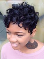 Fluffy Pixie Boy Cut Kinky Curly Short Human Hair Capless Cap African American women Wigs 8 Inches
