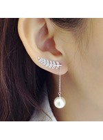 Diamond-encrusted Leaves-Shaped Pearl Earrings