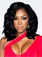 Porsha Williams Loose Bob Black Wave Medium Length Synthetic Hair Lace Front Cap Wigs 14 Inches