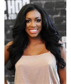 Porsha Williams Natural Black Sexy Wave One Side Part Long Synthetic Hair Lace Front Cap Wigs 22 Inches