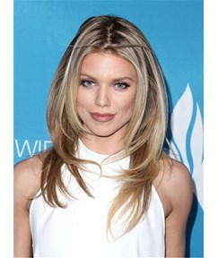 AnnaLynne McCord Perfectly Styled Layered Cut Wavy Human Hair Lace Front Wig 16 Inches