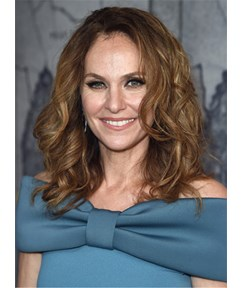 Amy Brenneman Medium Curls Synthetic Hair Lace Front Women Wig 16 Inches