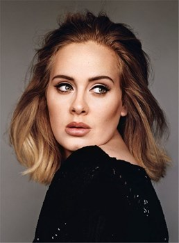 Adele Sexy Nature Wavy Human Hair Lace Front Women Wig 14 Inches
