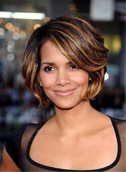 Halle Berry Short Layered Bob Straight Synthetic Hair With Bangs Capless Cap Wigs 8 Inches