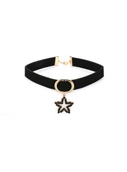 Star Metal Pendant Choker Necklace
