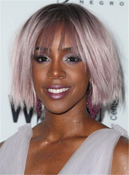 Kelly Rowland Choppy Lilac Bob Synthetic Straight Hair Capless Women Wig 10 Inches