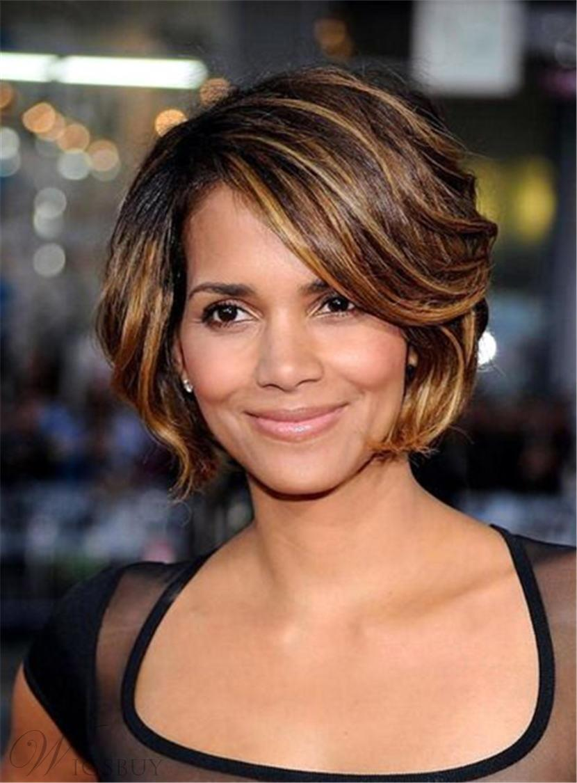 Halle Berry Short Layered Bob Straight Synthetic Hair With Bangs Capless Cap Wigs 8 Inches 12839869