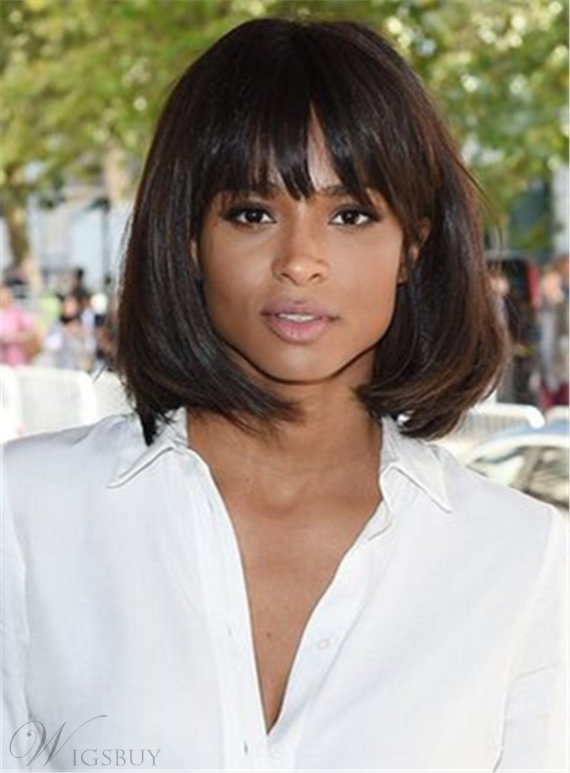 Ciara Blunt Cut Short Bob With Full Bangs Straight Medium Synthetic Hair Capless Cap Wigs 10 Inches 12839912
