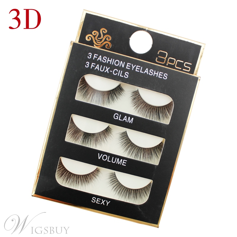 3 Pair 3D Nature Black False Eyelashes 25 mm