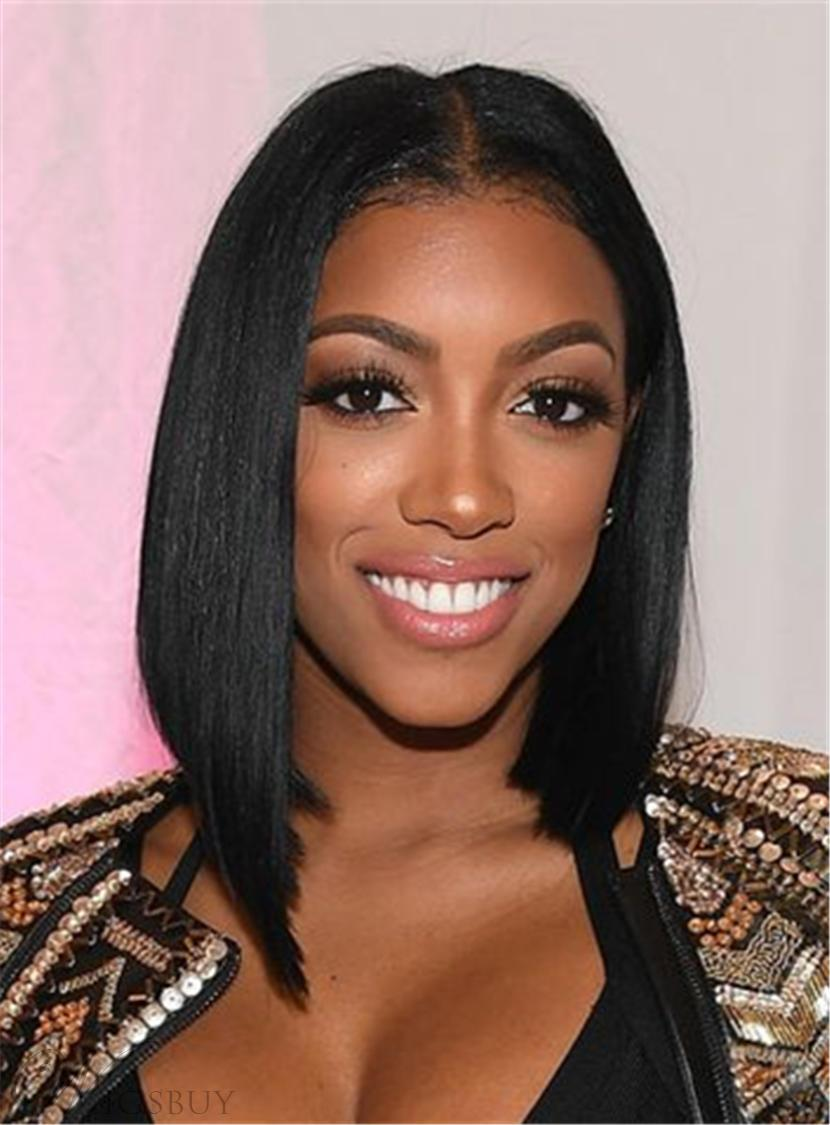 Porsha Williams Natural Black Blunt Cut Straight Graduated Bob Center Part Human Hair Wigs Lace Front Cap Wigs 12 Inches