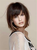 Short Straight Bob With Bangs Human Hair Capless Wig 10 Inches