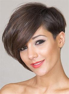 Short Tilted Pixie Hairstyle Straight Human Hairs Capless Women Wig 6 Inches