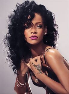 Rihanna Hairstyles Women's Layered Loose Wave Long Length Synthetic Hair With Casual Bangs Capless Wigs 18 Inches