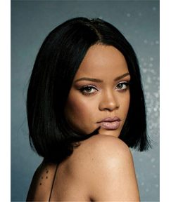 Rihanna Blunt Cut Bob Center Part Straight Human Hair Full Lace Cap Women Wig 12 Inches