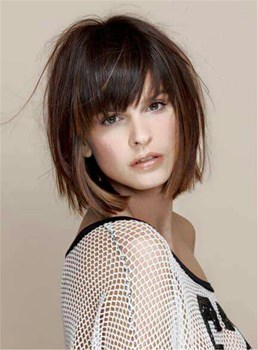Short Straight Bob With Bangs Human Hair Capless Wig 8 Inches