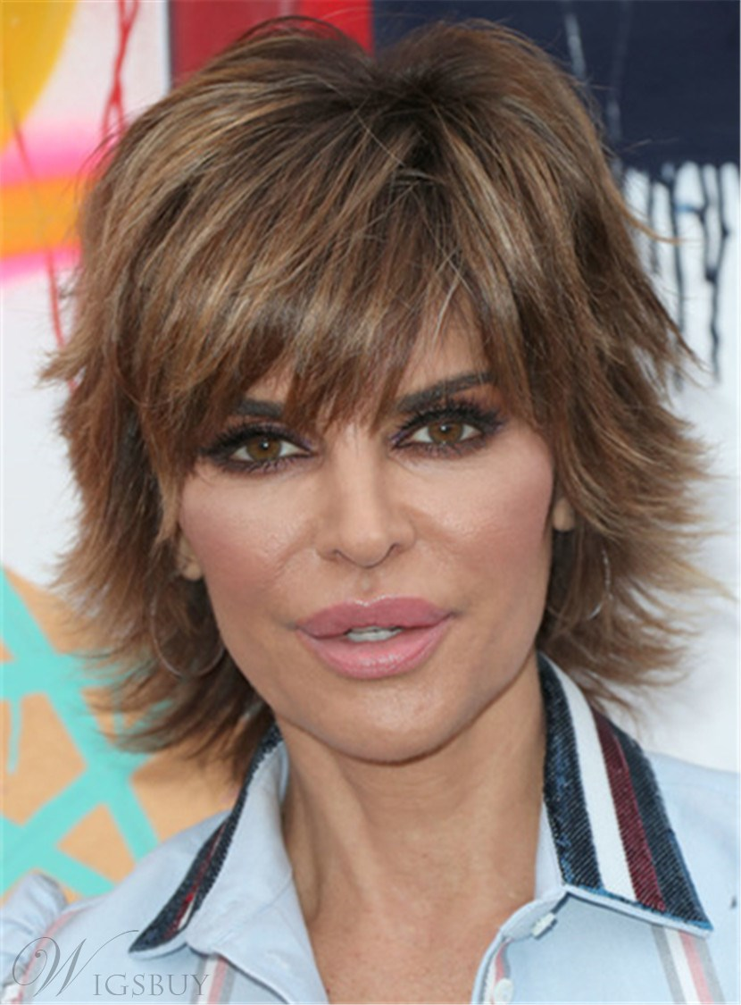 Lisa Rinna Layered Short Synthetic Straight Hair Razor Cut Women Capless Wig 8 Inches 12846265