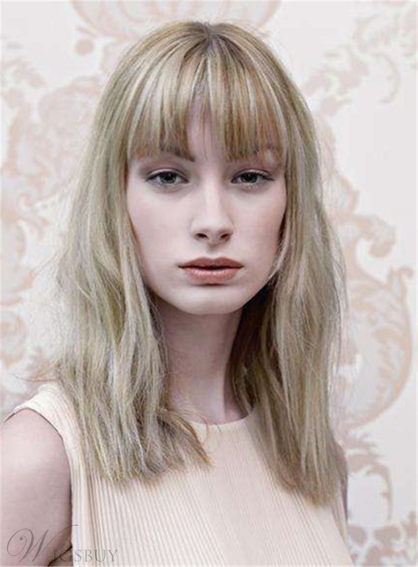 Medium Bob Hairstyle Straight Blonde Synthetic Hair Capless Women Wigs 12 Inches 12843345