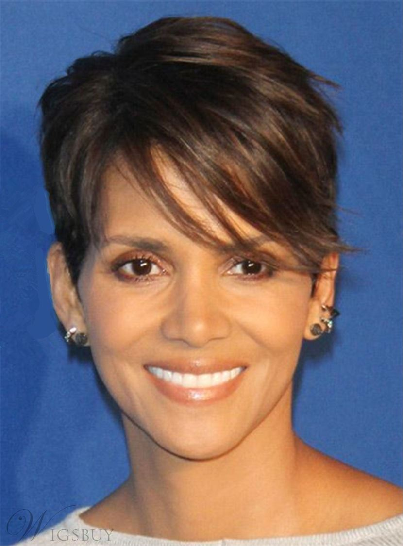 Halle Berry Pixie Boy Cuts Short Layered Synthetic Hair With One Side Part Straight Bangs Capless Cap Wigs 6 Inches