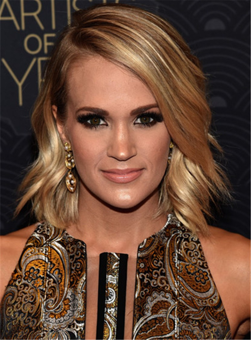 Carrie Underwood Medium Wavy Cut Side Swept Lace Front Synthetic