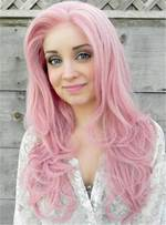 Cute Youthful Long Pink Straight Synthetic Hair Lace Front Women Wigs 22 Inches