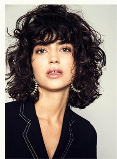 Fluffy Bob Hairstyle Medium Charming Synthetic Curly Hair Lace Front Women Wigs 12 Inches