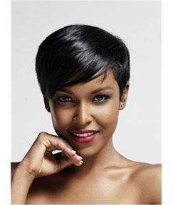Short Charming Pixie Hairstyle Straight Human Hairs Capless Women Wigs 6 Inches