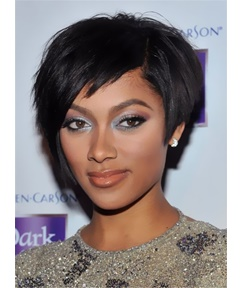 Elegant Tilted Smooth Layered Natural Short Bob Hairstyle 100% Human Hair African American Wigs Capless 8 Inches