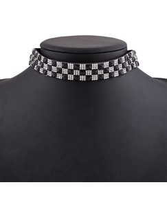 Plaid Diamante Rhinestone Choker Necklace