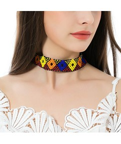 Contrast-Color Geometric Choker Necklace