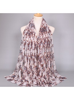 Ink Painting Floral Print Voile Scarf