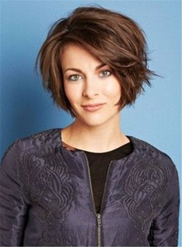 Short Side Parting Nature Straight Lace Front Human Hair Women Wig