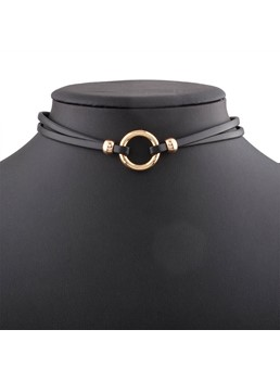 Simple PU Alloy Choker Necklace