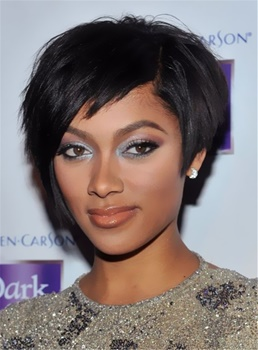 Elegant Tilted Smooth Layered Top Quality Natural Short Bob Hairstyle 100% Human Hair African American Wigs Capless 8 Inches
