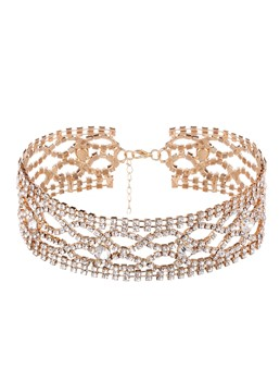 Shiny Diamante Hollow Out Choker Necklace