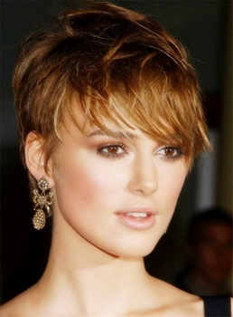 Keira Knightley British Elegant Charming Layered Pixie Capless Straight Short Celebrity Human Hair Wigs 6 Inches