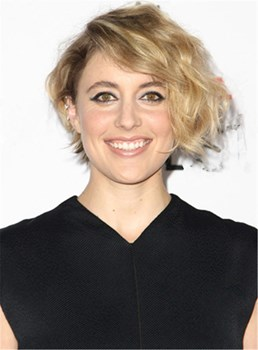 Greta Gerwig Rocked Messy Wave Synthetic Hair Lace Front Women Wig 10 Inches