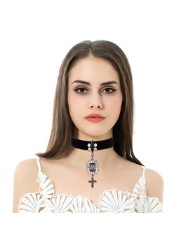 Rhinestone Inlaid Cross Pendant Choker Necklace