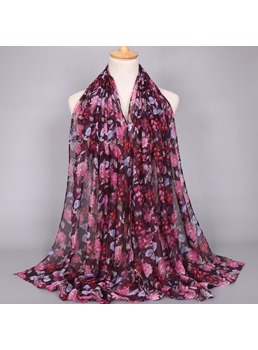 Fashion Peony Print Voile Scarf