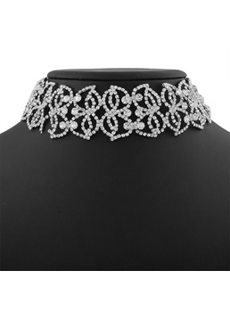 Hollow Out Diamante Choker Necklace