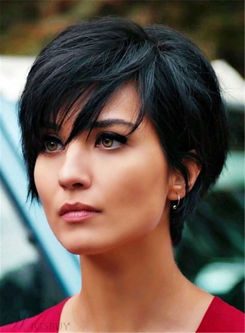 Layered Natural Black Pixie Short Messy Synthetic Hair With Straight Bangs Capless Wigs 6 Inches 12853740