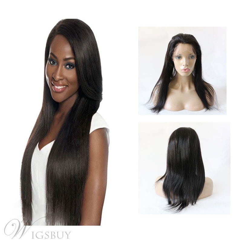 Black Straight 360 Lace Frontal Closure Straight Human Hair Lace Band