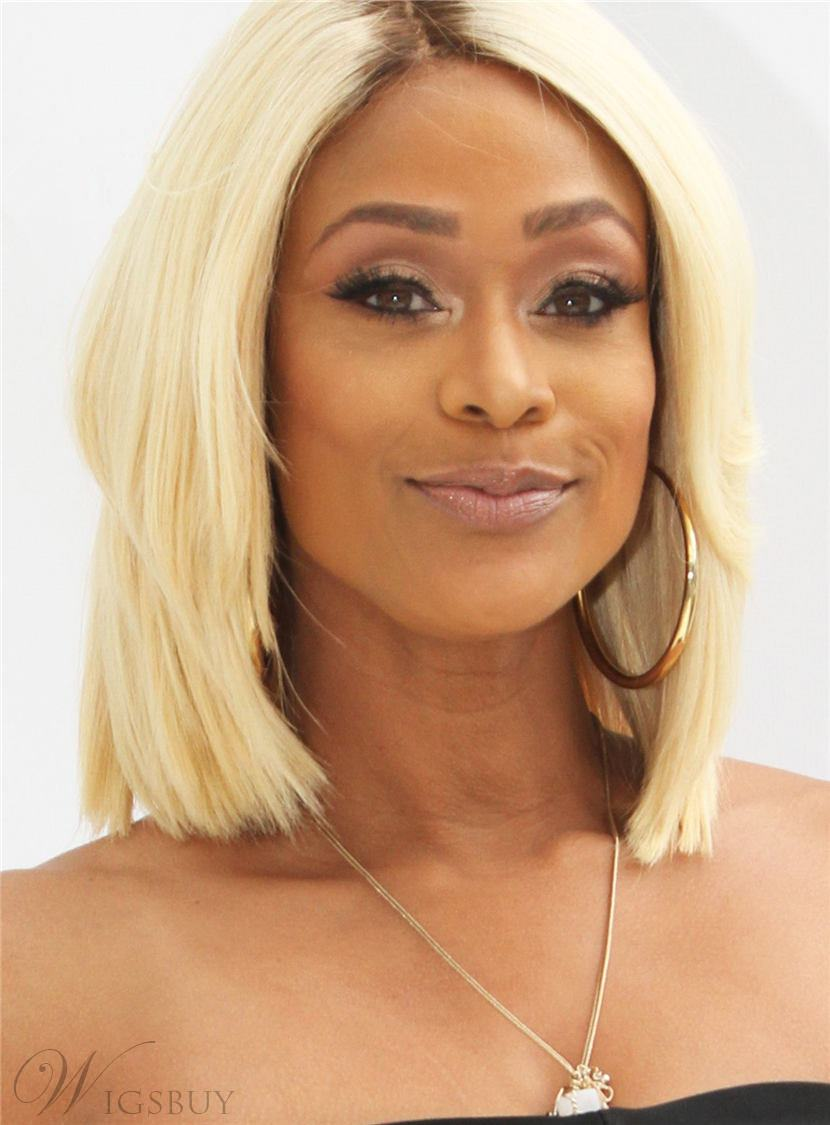 76 Tami Roman Bob Single Blonde Human Hair Medium Straight Full Lace Cap Women Wigs 12 Inches