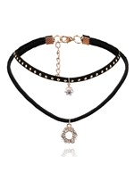 Round Alloy Diamante Pendant Double Choker Necklace