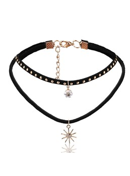 Full Drill Sun-Shaped Pendant Choker Necklace