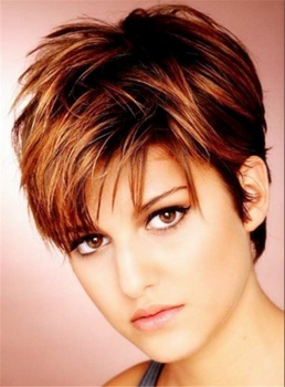 Silky Layered Natural Brown Pixie Straight 100% Human Hair Lace front Women Wigs 6 Inches