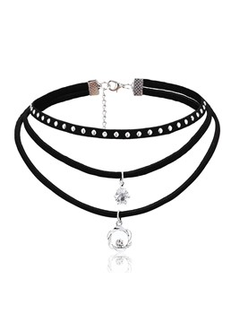 Hollow Out Floral Diamante Pendant Multilayer Choker Necklace